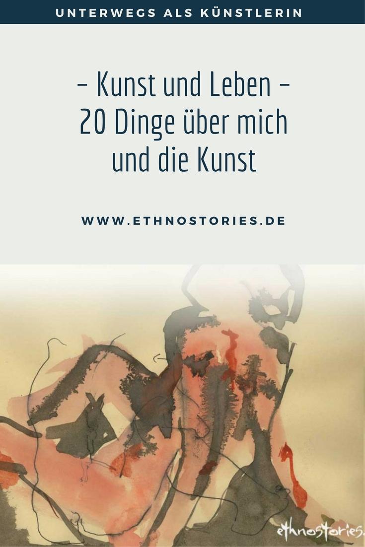 Kunst und Leben, Zeichnung von Uschi Erlewein, Geschichtenspielerin, Heilbronn - 20 Dinge über mich und die Kunst