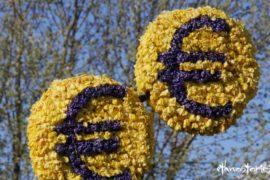 Einfach mit Märchenerzählen Geld verdienen | Das Bild zeigt zwei Eurozeichen aus frischen Blüten gemacht