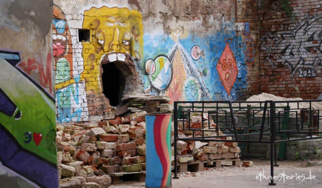 Stilleben mit Street Art, Grafitti im Künstlerzentrum Alafuzov Loft