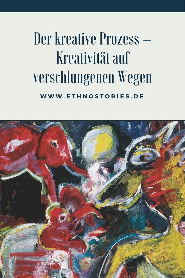 Malerei, Mischtechnik: Uschi Erlewein - Artikelfoto: Der kreative Prozess - Verschlungene Wege der Kreativität