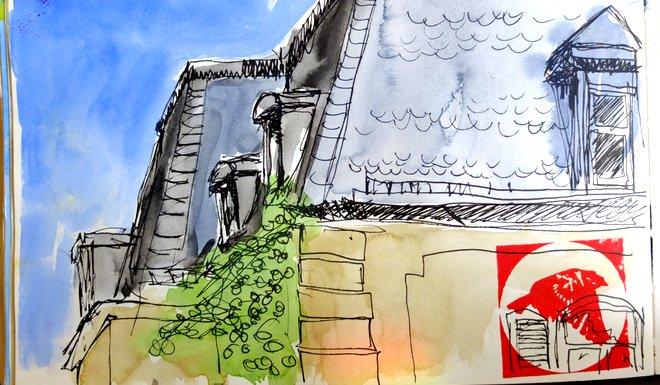 Urban Sketching: Zeichnung eines Hauses in Stuttgart