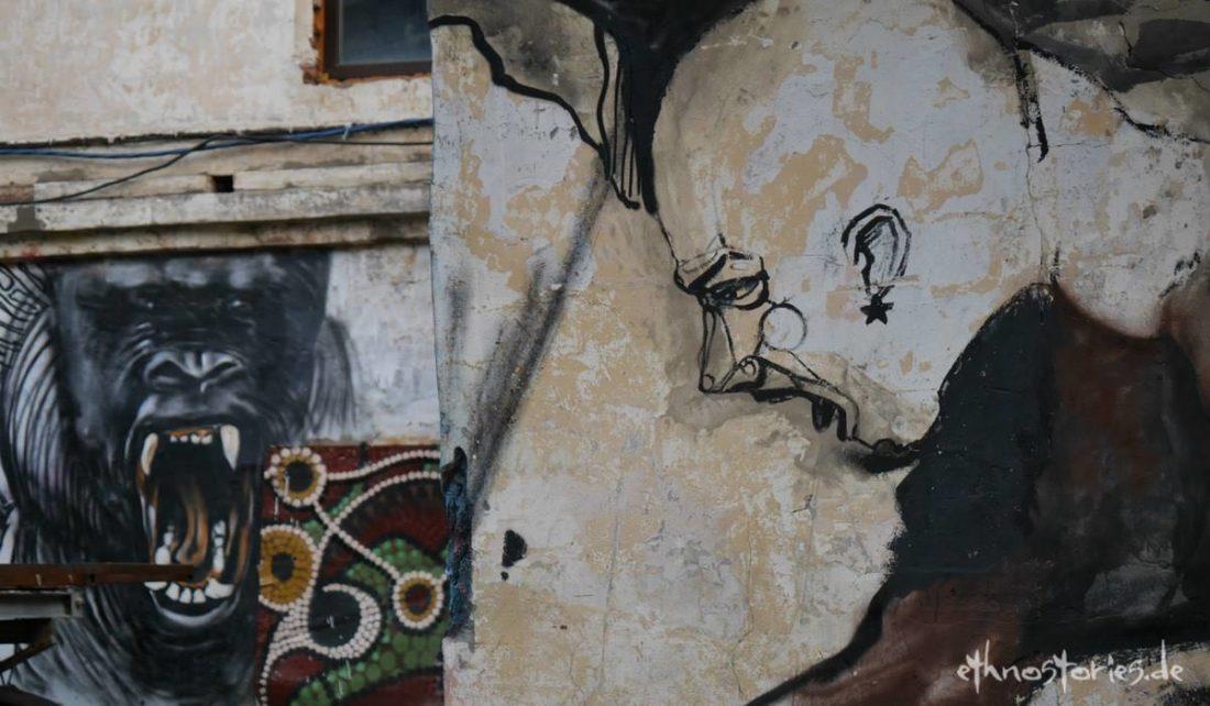 Graffiti im Künstlerzentrum Alafuzov Loft in Kasan