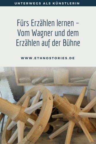 Holzräder in der Werkstatt eines Wagners im Freilichtmuseum Neuhausen ob Eck, Germany - Artikelfoto: Fürs Erzählen lernen - Vom Wagner und dem Erzählen auf der Bühne